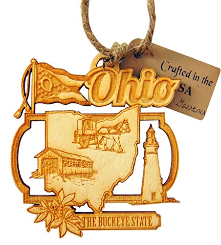 Ohio Ornament Handmade Wooden Christmas Tree Decoration Buckeye State Decor Gift Boxed