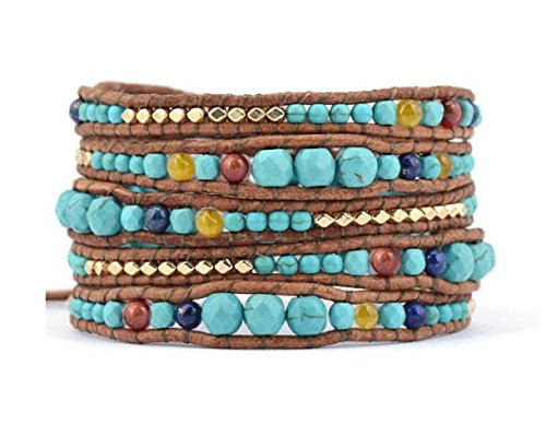 Leather Wrap Bracelet with Synthetic-Turquoise Blue and Red Beads 51tp qwXjnL