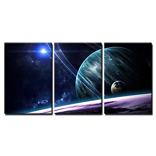 wall26 - Planets Stars Galaxies in Outer Space - Canvas Art Wall Decor-24 x36 x3