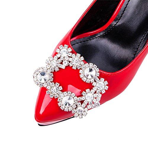 Urethane Spikes Platform Stilettos Rhinestones Pumps Womens Red Shoes AdeeSu 1wtqXX