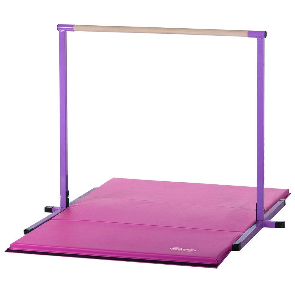 パープル水平棒(鉄棒)4フィートとピンク折りたたみジムマット4フィート   B003YU9S6U