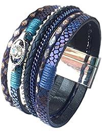 LuckyZ Women Fashion Snake Skin Leather Crystal Bracelet with Magnetic-Clasp Comfortable Wrap Bracelet