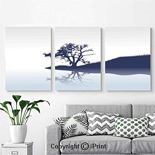 (Canvas Prints Modern Art Framed Wall Mural Silhouette of Lonely Tree by Lake with Mirror Effects Melancholy Illustration for Home Decor 3 Panels,Wall Decorations for Living Room Bedroom Dining Room)