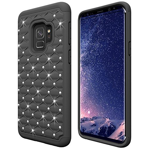 Bling Plastic Case Hard (Galaxy S9 Case, S9 Plus Case, S9+ Case, Slim Thin Soft Silicone + Hard PC Plastic Protective Phone Cover with Bling Rhinestone for Samsung S 9 and S 9 Plus Smartphone (Black-1, for S9))