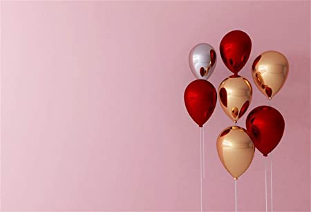 Polyester 8x6.5ft Romantic Valentines Day Background Floating Pink Golden Silver Mirror Face Hydrogen Balloons White Wall Backdrops Child Girls Lovers Couple Portraits Birthday Festival Photo