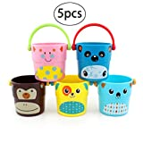TOYMYTOY 5pcs Children Bathing Pour Bucket Toy Bathtub Bath Bucket Bathing Beach Water Pour Toy(Color Random)