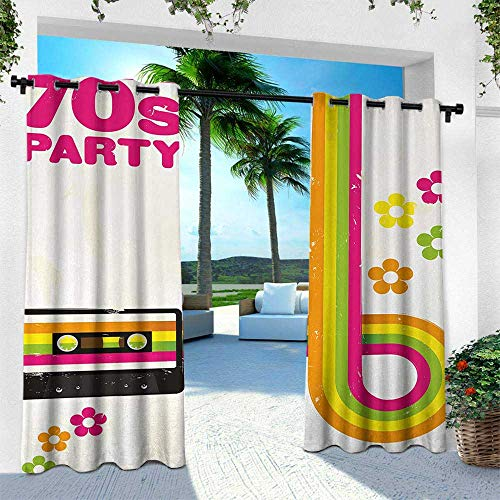 Hengshu 70s Party, Outdoor Curtain Waterproof Rustproof Grommet Drape,Party Flyer Inspired Cute and Curved Stripes with Daisies Audio Cassette Tape, W108 x L108 Inch, Multicolor