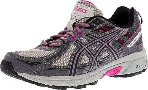 ASICS Women's Gel-Venture 6 Running-Shoes,Carbon/Black/Pink Peacock,5.5 Medium US
