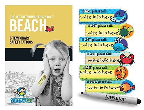 Quick Stick Write-on! Child ID Tattoos NEW (Beach 6pk.) -