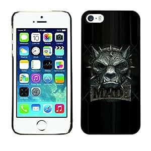 Be Good Phone Accessory // Dura Cáscara cubierta Protectora Caso Carcasa Funda de Protección para Apple Iphone 5 / 5S // Mad Wolf Dog Grey Black Angry Teeth Collar