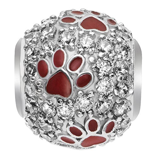 Sterling Silver Bling Swarovski Crystal Red Puppy Dog Paw Footprint European Style Bead Charm