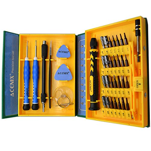 ACENIX S2 Alloy Steel Material 38 in 1 Precision Screwdriver Repair Tool Kits for Tablets, Laptops, PC, Smartphones iPad iPhone 7 Plus 7 6 5s 5c 5 4 Samsung S2 S3 S4 S5 S6 S7 Replacement Screens ()