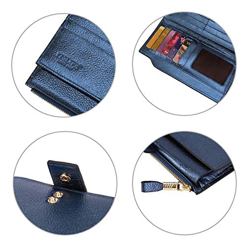 Itslife Women's RFID Blocking Large Capacity Luxury Wax Genuine Leather Clutch Wallet Card Holder Organizer Ladies Purse (4-Pebbled Blue Gold) by ITSLIFE (Image #5)