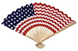 Pack of 10 Pieces USA Flag Design 10'' Paper Folding Fans Mounted on Bamboo Ribs Event Favor or Patriotic Gathering