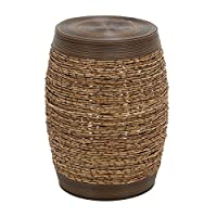 19 in. Wooden Garden Stool In Barrel shaped- Set of 2 - Rich brown