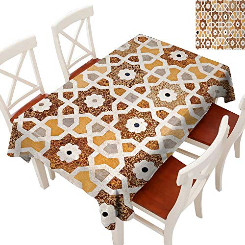 WinfreyDecor Flow Spillproof Fabric Tablecloth Tablecloth Thick Original Restaurant Detail of Inlay and Geometric Carvings Asian Taj Mahal Tomb Architecture Cream Orange Brown 70