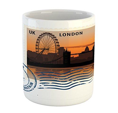 Postmark Originals (Lunarable London Mug, England Great Britain Vintage Postmark with Night Sight of London Cityscape Print, Printed Ceramic Coffee Mug Water Tea Drinks Cup, Multicolor)