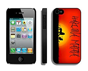Classic Apple Iphone 4s Case Durable Soft Silicone TPU Hakuna Matata on Sunset Lion King Black Cell Phone Case Cover for Iphone 4