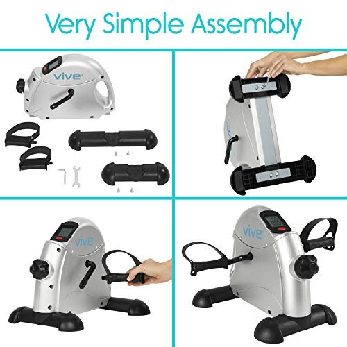 Vive Pedal Exerciser - Stationary Exercise Leg Peddler - Low Impact, Portable Mini Cycle Bike for Under Your Office Desk - Slim Design for Arm or Foot - Small, Sitdown Recumbent Equipment Machine