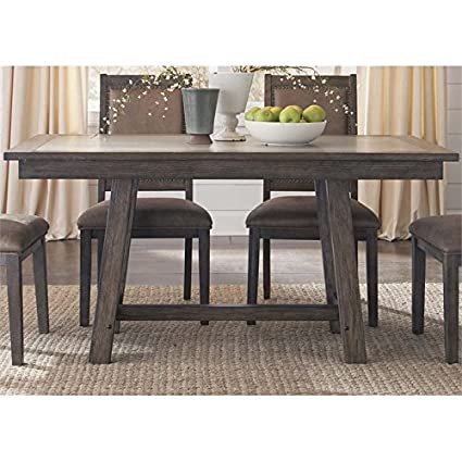 Amazoncom Liberty Furniture Stone Brook Trestle Dining Table In - Oval trestle dining table