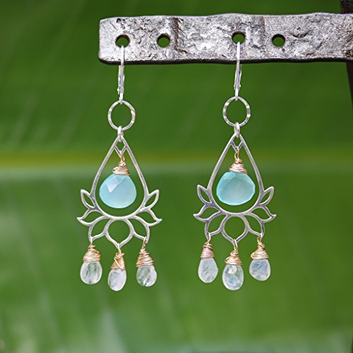 Lanai - Lotus Chandelier Chalcedony and Moonstone Earrings