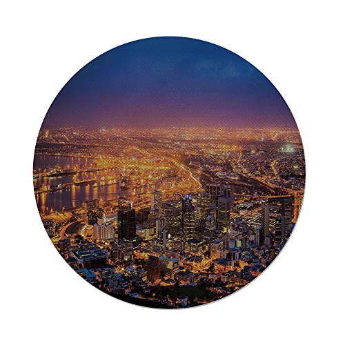 Cotton Linen Round Tablecloth,City,Cape Town Panorama at Dawn South Africa Coastline Roads Architecture Twilight,Marigold Blue Pink,Dining Room Kitchen Table Cloth Cover