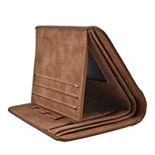 Slim Mens Wallet RFID Trifold Leather Wallets for Men (Brown 2)