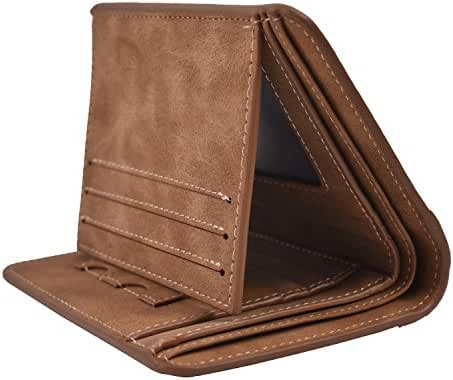 Mens Vintage Trifold Wallets RFID Blocking Leather Credit Card Holder Wallet