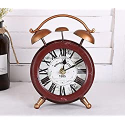 COL DOM European retro style to do the old iron small clock personality fashion desktop Decoration Block clock sales hot 14x5.5x20cm (Red)