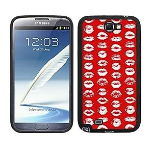 Funda carcasa TPU (Gel) para Samsung Galaxy Note 2 diseño estampado labios blanco fondo rojo borde negro