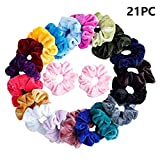 Auwer 40 Pcs Premium Velvet Hair Scrunchies Hair Bands Scrunchy Hair Ties Ropes Scrunchie for Women or Girls Hair Accessories (Multicolor, 21PC)