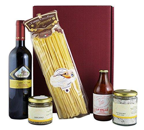 Italienisches Genießer Geschenkset Napoli mit Rotwein, Pasta und bester, italienischer Feinkost