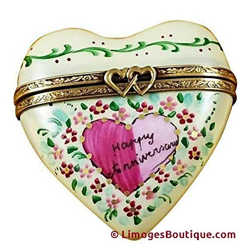 - HEART - HAPPY ANNIVERSARY - LIMOGES BOX AUTHENTIC PORCELAIN FIGURINE FROM FRANCE