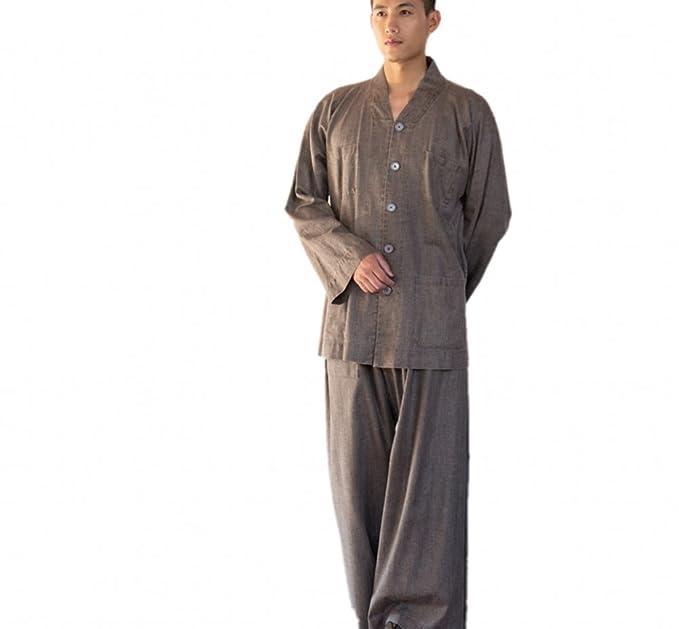 Katuo Mens marrón conjuntos de monje budista Religión traje ...