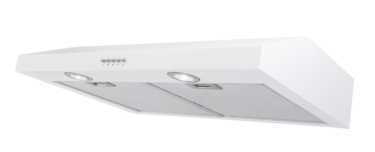AKDY 30'' Under Cabinet Stainless Steel Push Panel Kitchen Range Hood Cooking Fan w/ Carbon Filters (White 30)