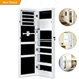 Jewelry Cabinet Armoire with Mirror Led Light Wall Door Mounted Organizer Storage,White