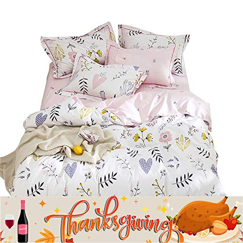 OTOB New Soft Cotton Cartoon Pink Floral Duvet Cover Full Queen for Girls Kids Toddler Women Reversible Plant Flower Print Teen Bedding Sets Full Size, No Comforter