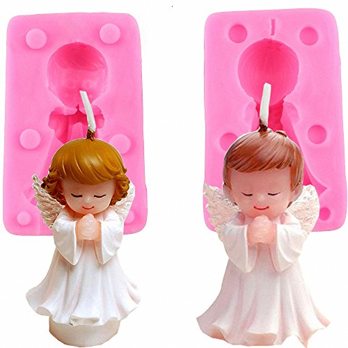 3D Boy and Girl Angel Silicone Mold Set for Fondant, Candle, Wax, Crayon, Polymer clay, Plaster of Paris, Soap, Cake Topper Decoration, Bath Bomb, Lotion bar, Baby Shower Birthday Gifts Making Tools