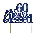 All About Details Blue 60-Years-Blessed Cake Topper