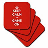 3dRose Gaming - Keep Calm And Game On Red - set of 4 Coasters - Soft (cst_261103_1)