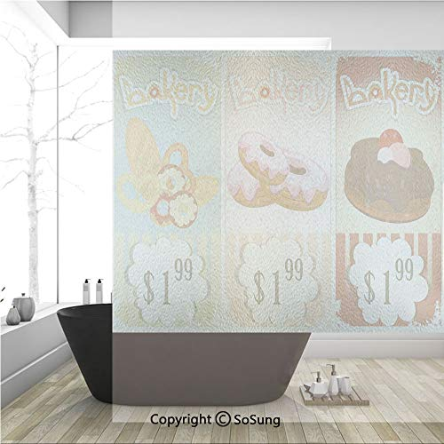 3D Decorative Privacy Window Films,Bakery Collection of Delicious Pastries Deserts Doughnuts and Cakes with Price Tags,No-Glue Self Static Cling Glass film for Home Bedroom Bathroom Kitchen Office 36x