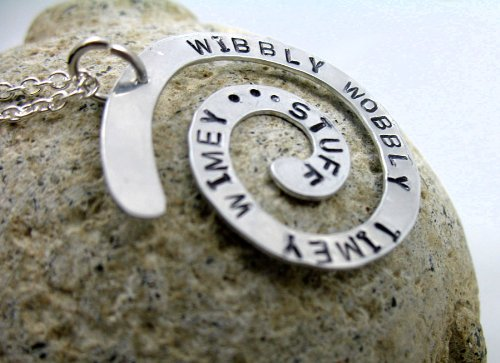Timey Wimey Necklace - Hand Stamped Spiral Pendant, Wibbly Wobbly Timey Wimey...Stuff, Doctor Who Inspired