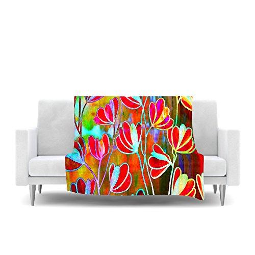 Technicolor Red Multicolor Fleece Throw Blanket Kess InHouse EBI Emporium Efflorescence 40 x 30