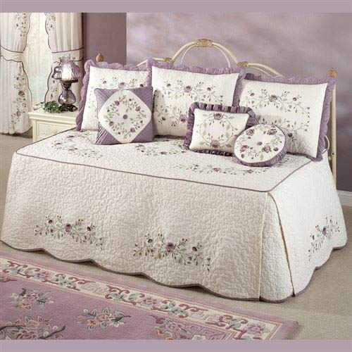 Touch of Class Antique Bloom Dusty Lavender Embroidered Quilted 4-Piece Daybed Set