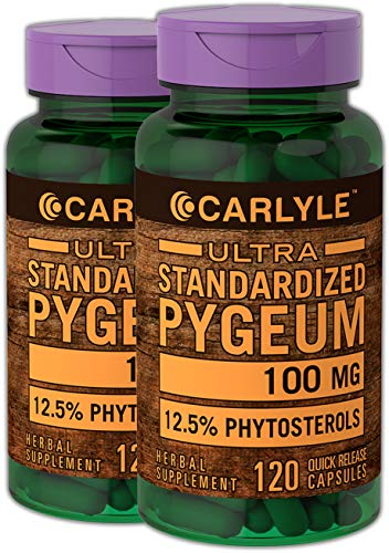 Carlyle Pygeum Standardized 100 mg 240 Capsules | Non-GMO & Gluten Free |Prostate Support, Urinary Tract Health | Pygeum Africanum Bark Extract Supplement