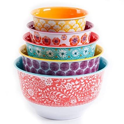 The Pioneer Woman Traveling Vines Nesting Mixing Bowl Set, 10-Piece Gibson Overseas Inc. 115933.05R