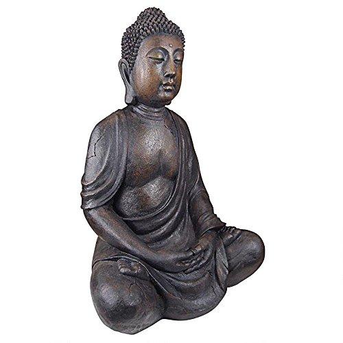 Design Toscano Meditative Buddha of the Grand Temple Garden Statue, Large, Gothic Stone
