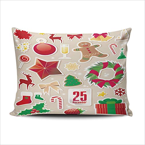 Hoooottle Custom Collection of Cute Christmas Decorative Pillowcase Throw Pillow Case Cover Zippered Queen One Side Printed 20x30 Inches ()