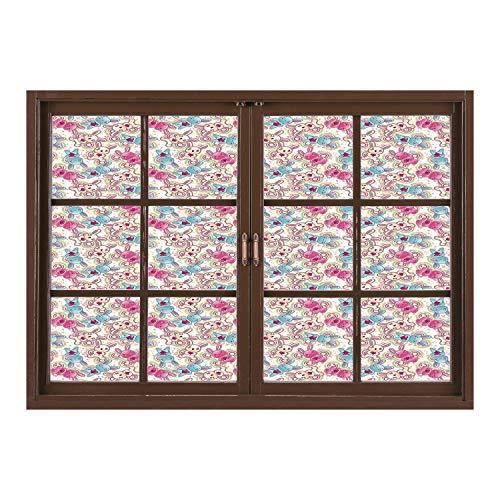 SCOCICI Wall Mural, Window Frame Mural/Baby,Cute Heroes Rabbits in Vivid Girls Kids Bunnies Spirals Stars Fun Theme,Pale Blue Hot Pink Cream/Wall Sticker Mural