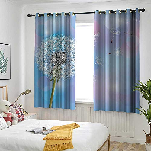 MaryMunger Dandelion Grommet Curtains Bokeh Background Flower with Wind Blowing Seeds Gardening Plants Hipster Patterned W 72